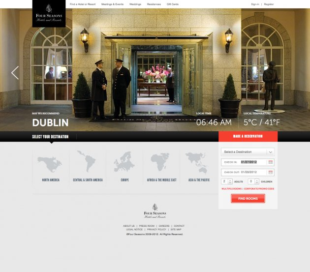 Four Seasons Hotels and Resorts website design